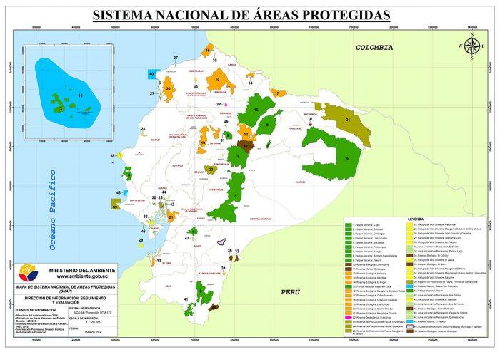 Mapas de áreas protegidos del Ecuador