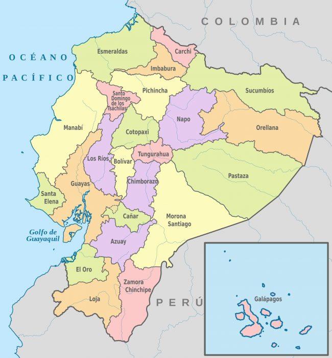 Mapa de Ecuador con sus provincias