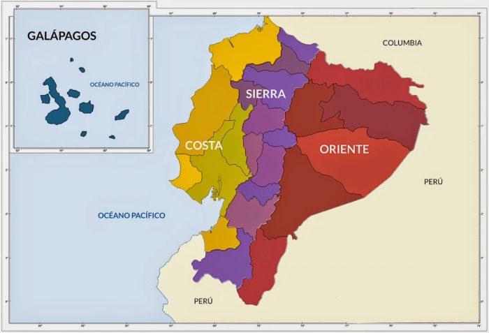 Mapas de las regiones de Ecuador