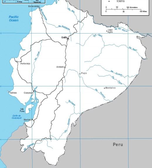 Mapas de los ríos de Ecuador