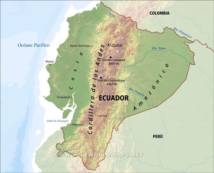 Mapa físico de Ecuador