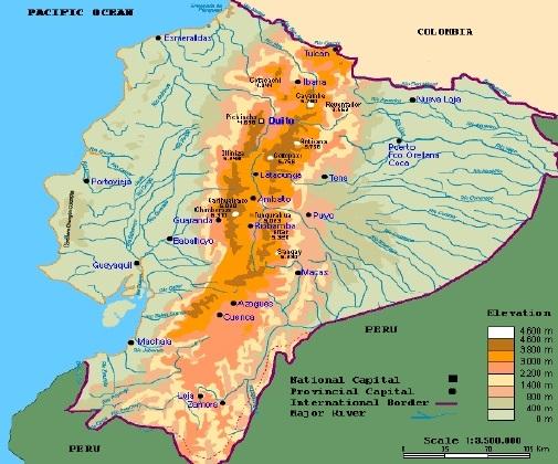 Mapa hidrográfico de Ecuador