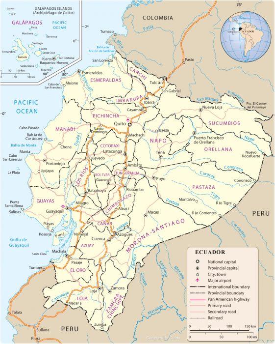 Mapa político de Ecuador