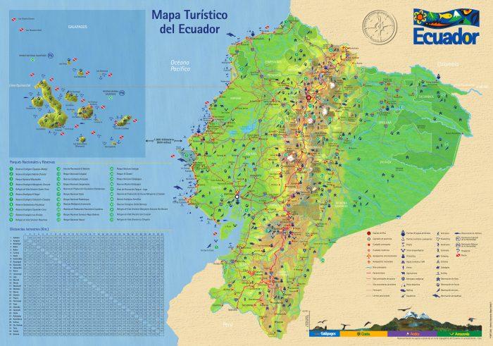 Mapa turístico de Ecuador